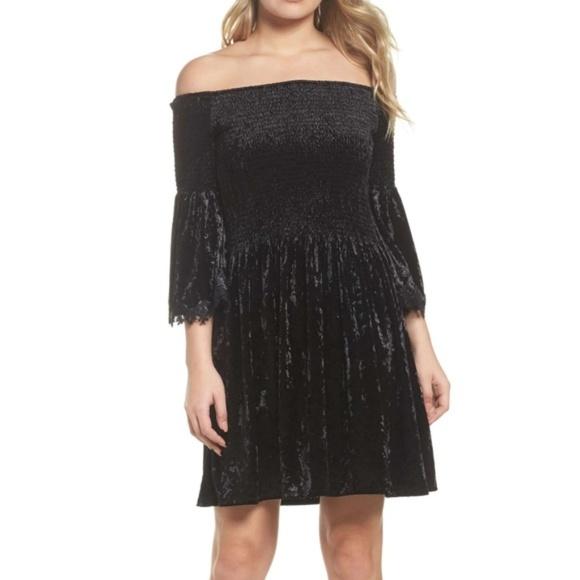52e52472bd KOBI HALPERIN Donella Black Velvet Strapless Dress
